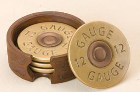12 gauge gold coins - close up - in brown holder
