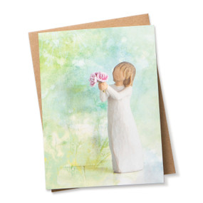 Green and blue painted card featuring figure in cream dress holding bouquet of pink peonies with envelope