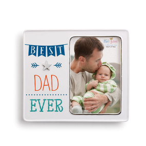 White photo frame with image of dad kissing baby and 'best dad ever' in blue on the other side