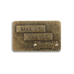 Wake up hustle repeat wooden plaque