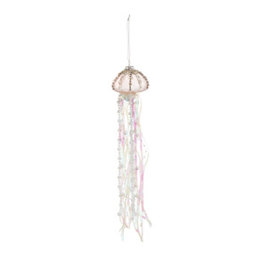Hanging cream jellyfish ornament with pink/cream beads hanging down