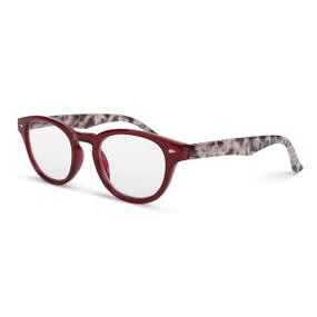 red framed glasses with tortoise shell stems