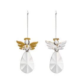 A set of two glass ornaments, each with gold accents and a silver string.