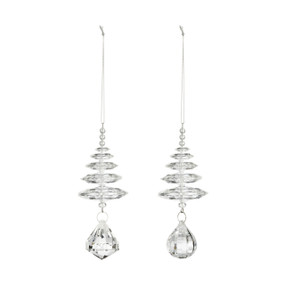 A set of two small crystal glass spiral tree ornaments, each with a large teardrop crystal at the bottom, and a thin silver string.