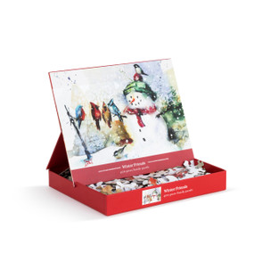 """A 400 piece """"Winter Friends"""" puzzle, of an image of a white snowman holding 5 various birds. Placed in a red cardboard box with a propped up product image."""