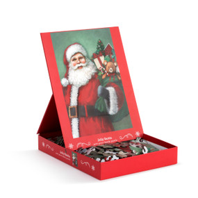 """A 400 piece """"Jolly Santa"""" puzzle, of an image of Santa holding a green bag filled with presents. Placed in a red cardboard box with a propped up product image."""