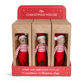 """A red and white cardboard displayer filled with 9 plush """"Christmas Mouse""""'s, placed in brown cardboard boxes."""