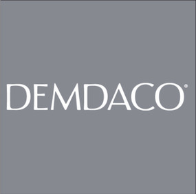 """A dark gray square image with the trademark """"DEMDACO"""" logo in white font."""