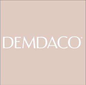 """A light tan square image with the trademark """"DEMDACO"""" logo in white font."""