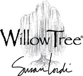 """A square image of the trademarked Willow Tree logo of a tree, """"Willow Tree"""" and artist Susan Lordi's signature in black."""