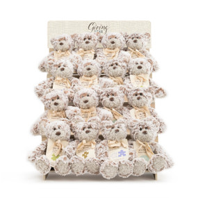 """An ivory wooden displayer filled with 20 mini white and brown """"Giving Bear""""'s with an assortment of messages."""