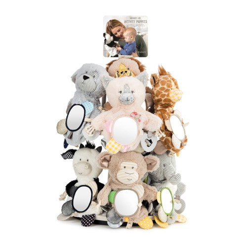 A white displayer filled with an assortment of plush activity puppets.
