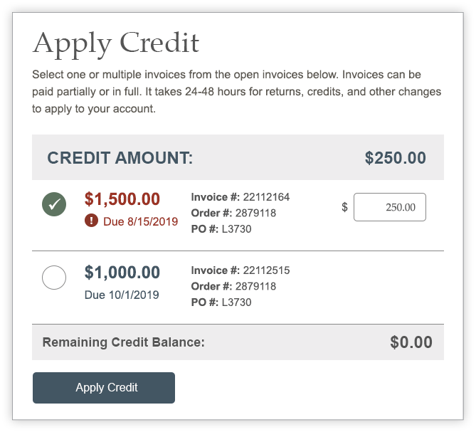 Apply Credit selected invoices screen