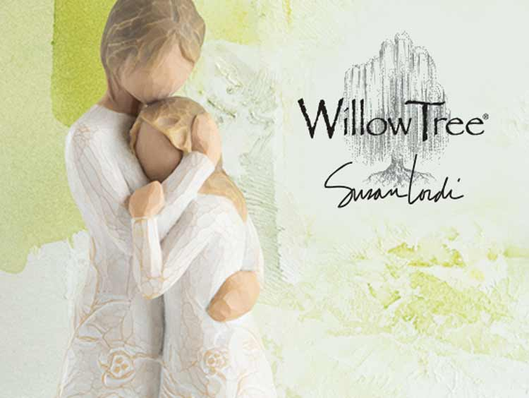 Willow Tree hand carved figurine of mother holding a daughter close