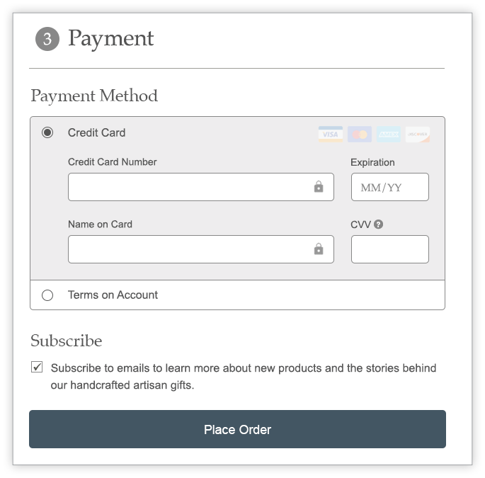 Checkout payment screen