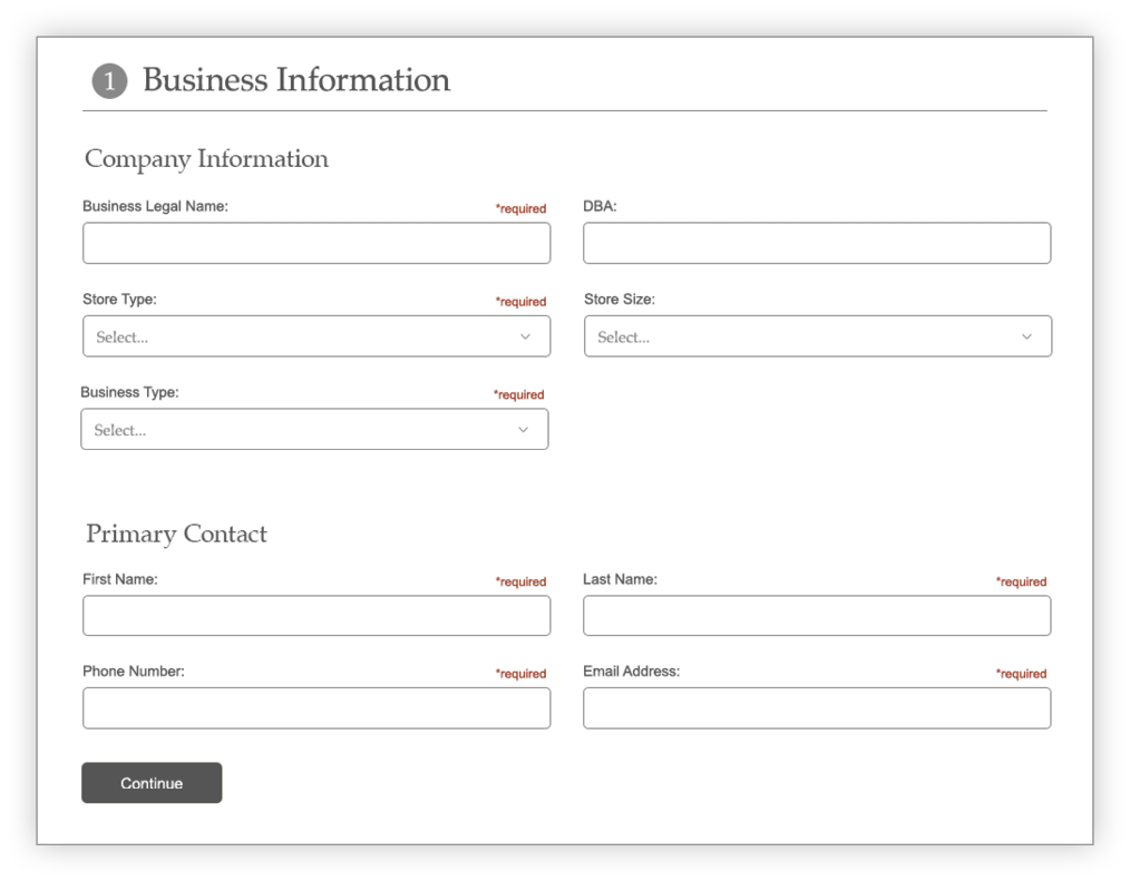 Create Account Business section screen