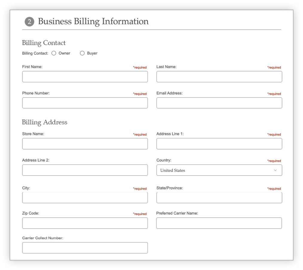 Create Account Business Billing section screen