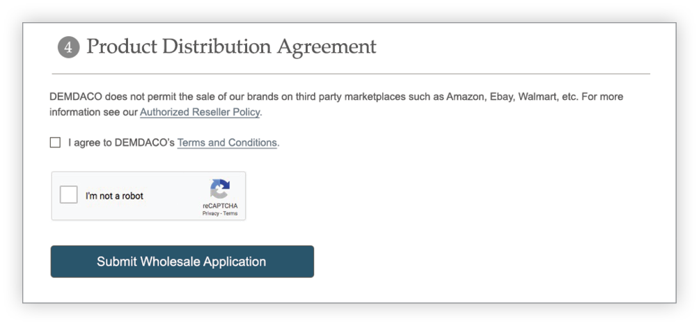 Create Account Agreement section screen