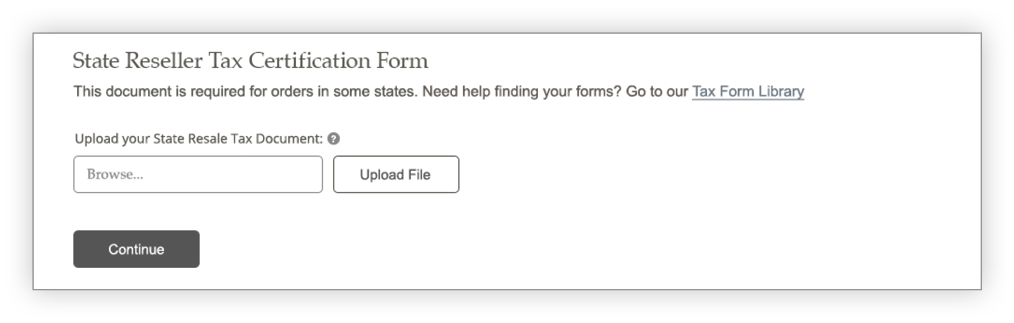 State Reseller Tax Form screen