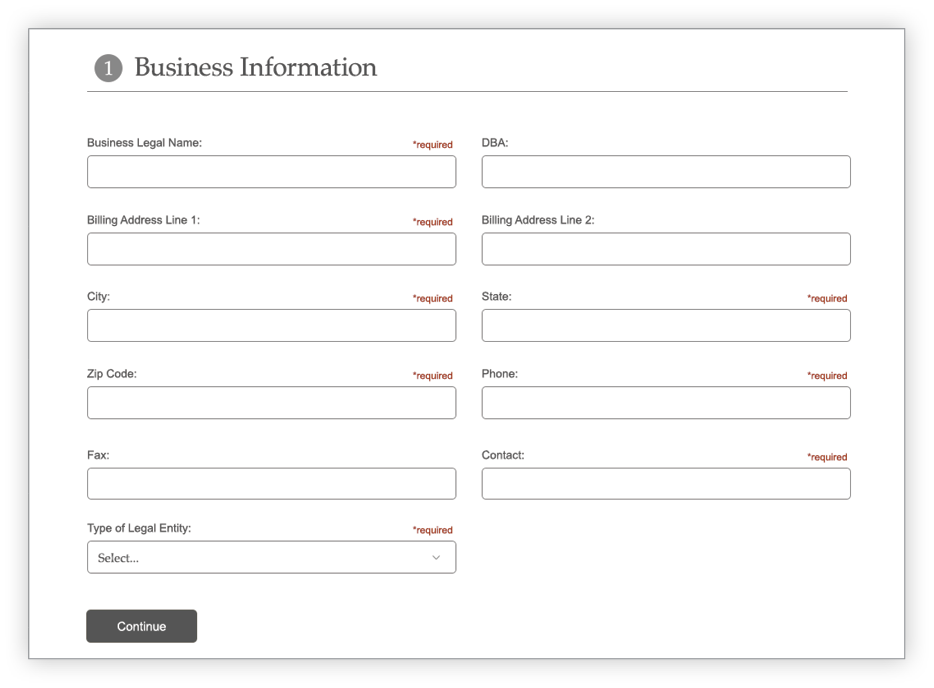 Credit Application Business section