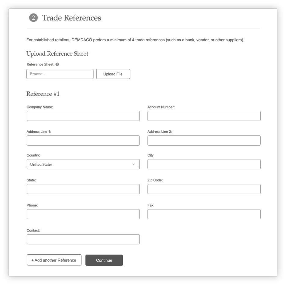 Credit Application Trade References section