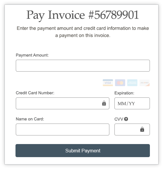 Pay Invoice credit card screen
