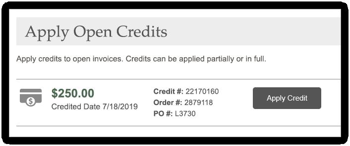 Apply Open Credit screen