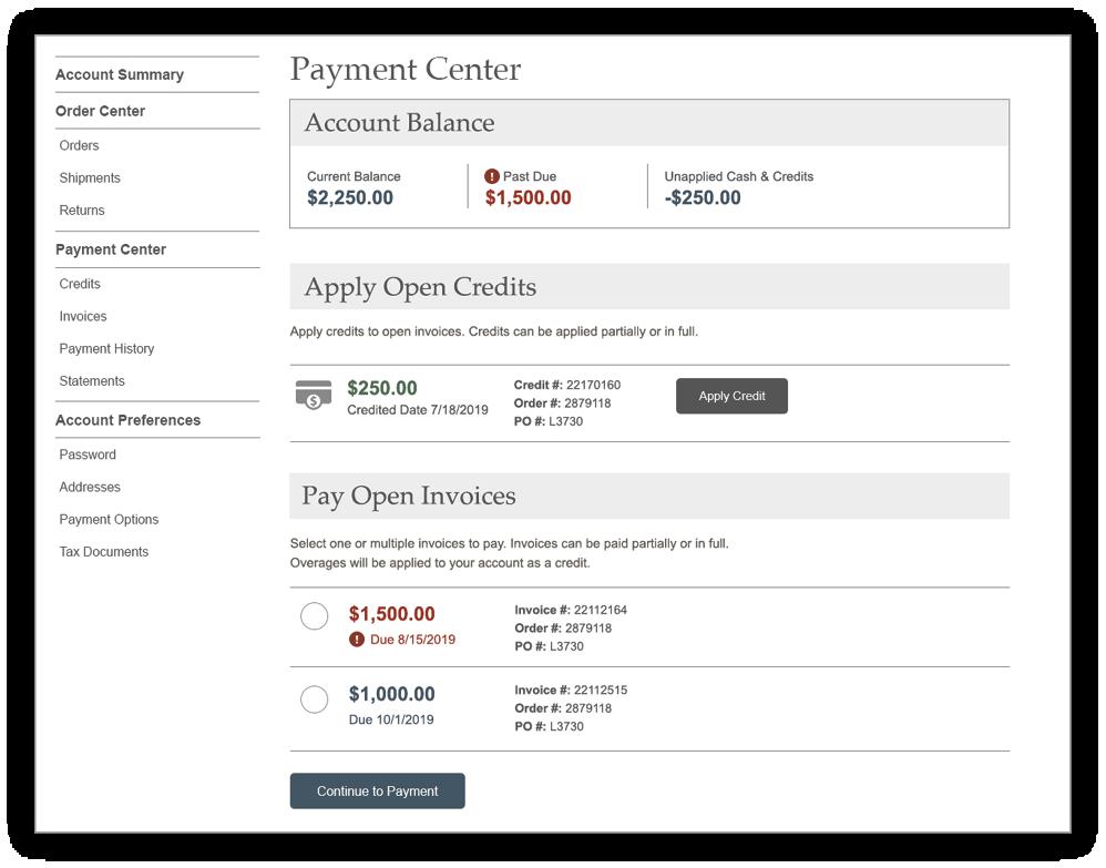 Payment Center screen