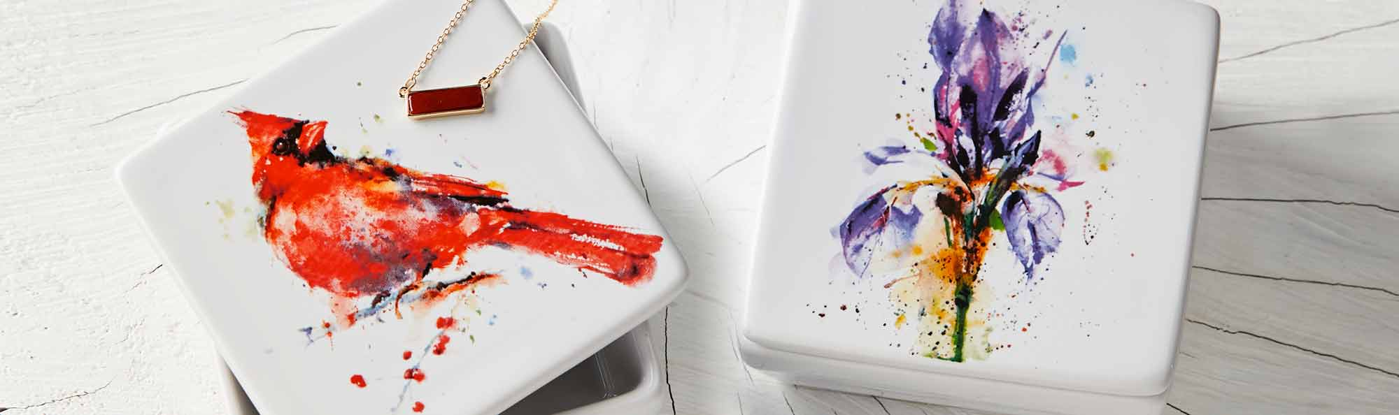 Ceramic boxes painted in watercolor bird and flowers with necklace.