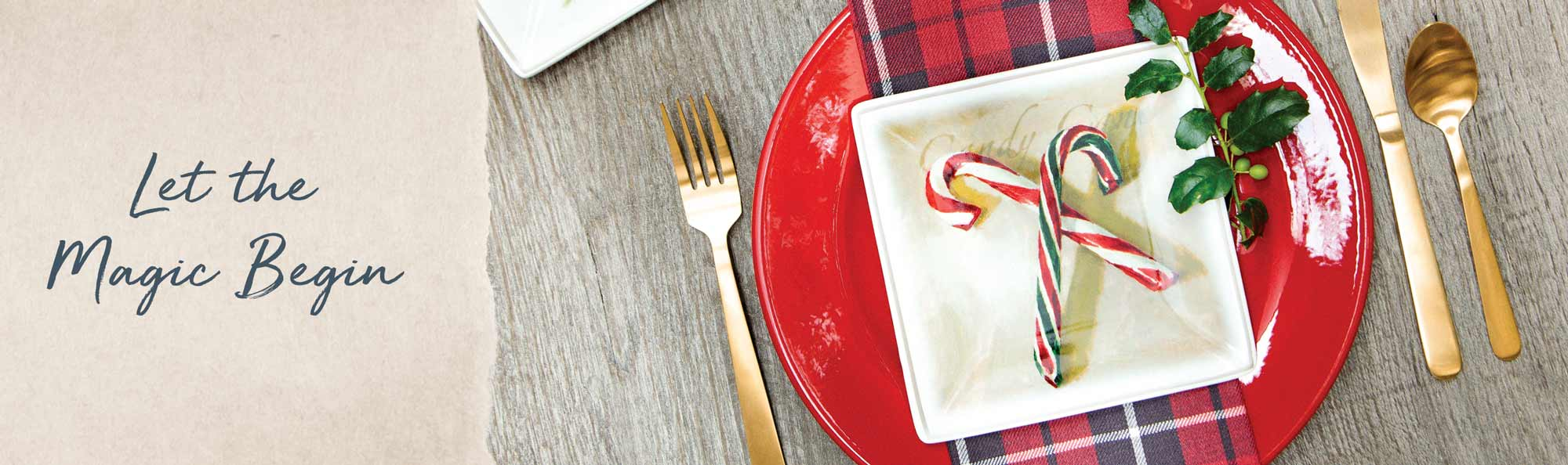 Let the magic begin. Christmas table place setting with candy canes.