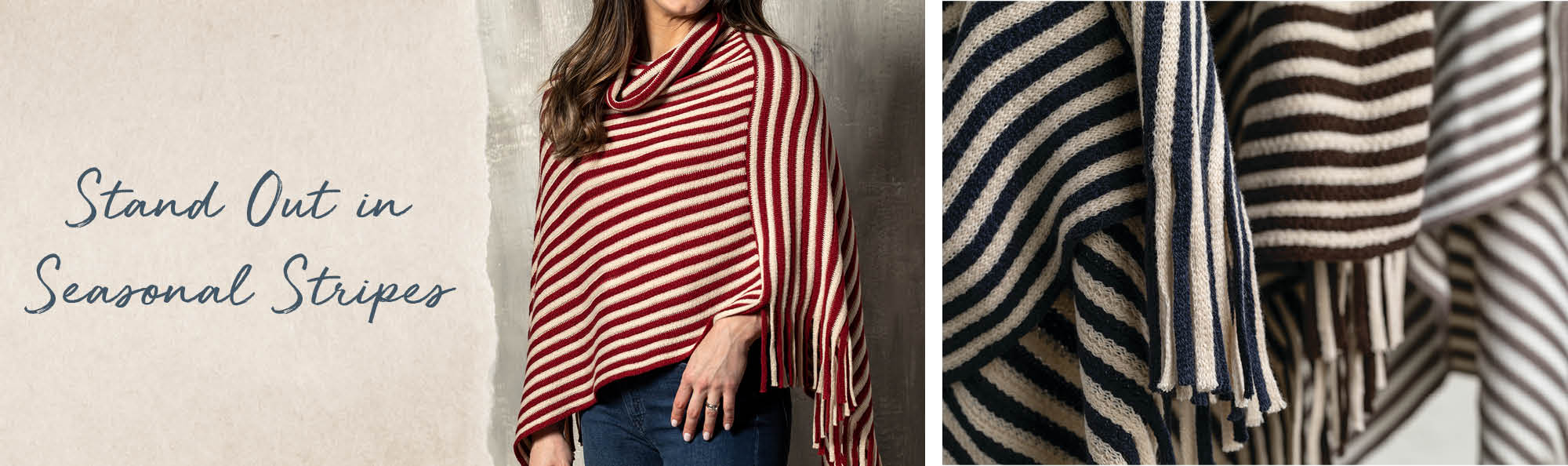 Stand out in seasonal stripes. Woman wearing a red and white striped poncho.