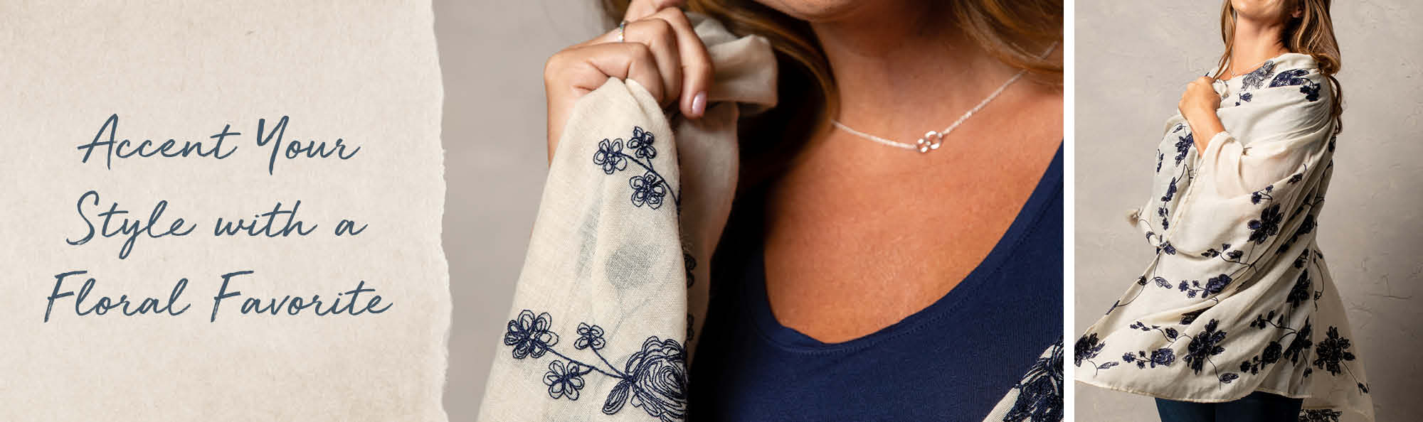 Accent Your Style with a Seasonal Floral Favorite. Woman wearing an white wrap embroidered with a blue floral design.