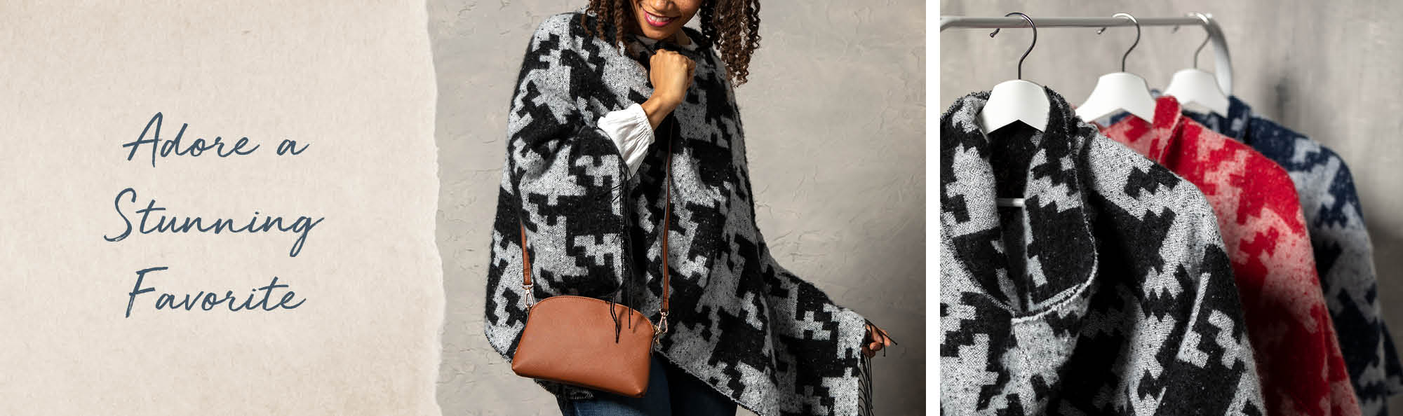 Adore a Stunning Favorite. Woman wearing a blue houndstooth poncho.