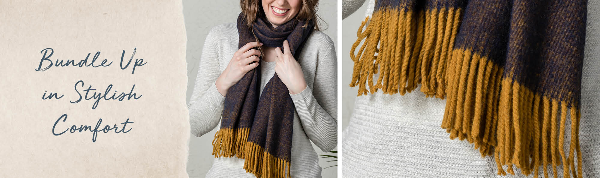 Bundle Up in Stylish Comfort. Woman wearing a dark scarf with gold fringe.