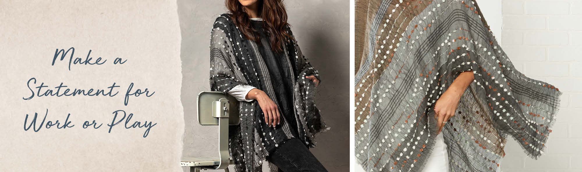 Make a Statement for Work or Play. Woman wearing a textured poncho.