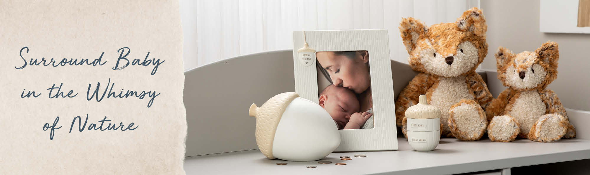 Surround Baby in the Whimsy of Nature. Stuffed fox animal and acorn decor in baby's room.