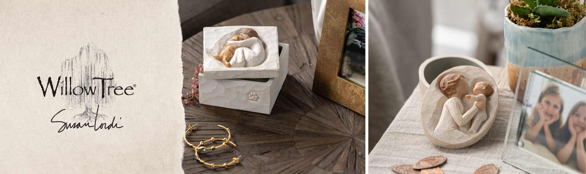 two photos of keepsake boxes on a table one is of a girl hugging her dog the other is her holding her baby
