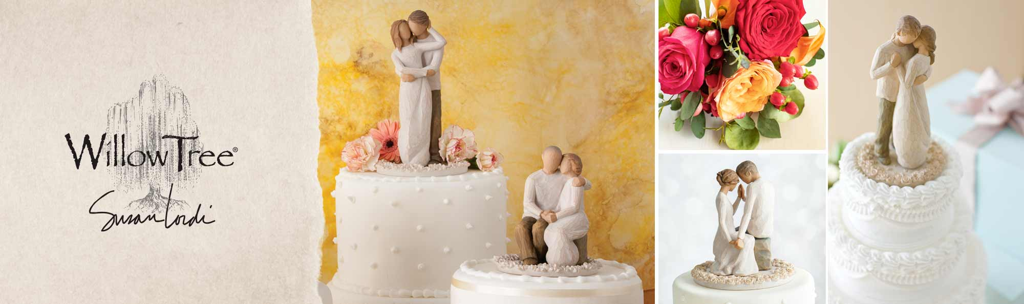 Willow Tree by Susan Lordi. Hand carved figurines of couples on top of wedding cakes.