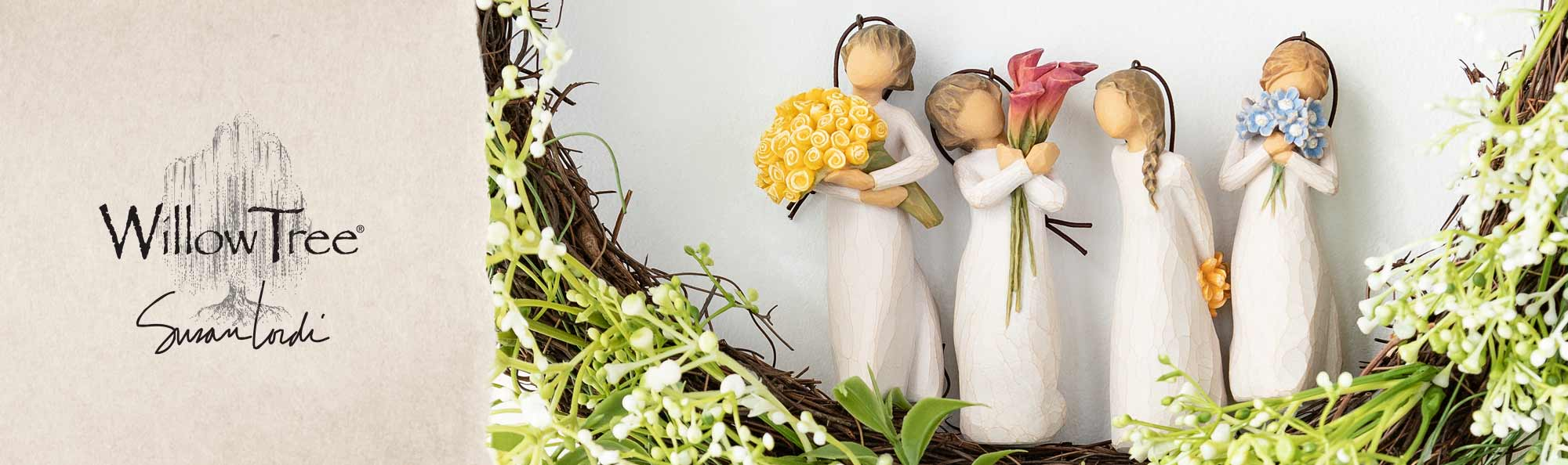 Willow Tree by Susan Lordi. Four ornaments of girls holding colorful flowers.