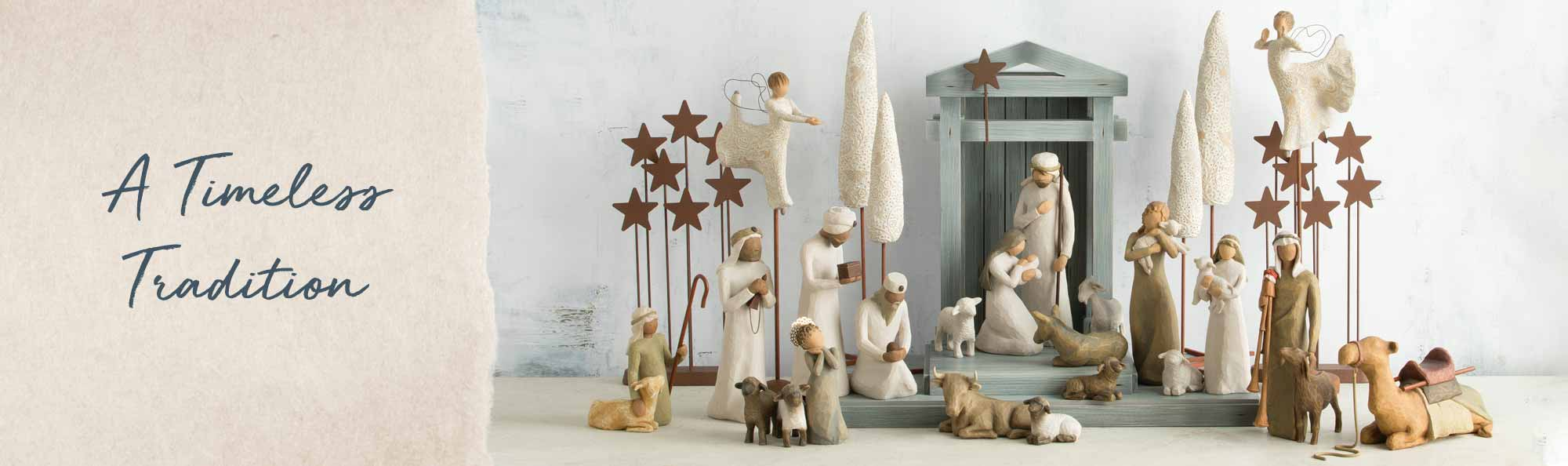 A timeless tradition. Hand carved nativity scene of Joseph, Mary and baby Jesus with wisemen, shepherds, angels, and animals.
