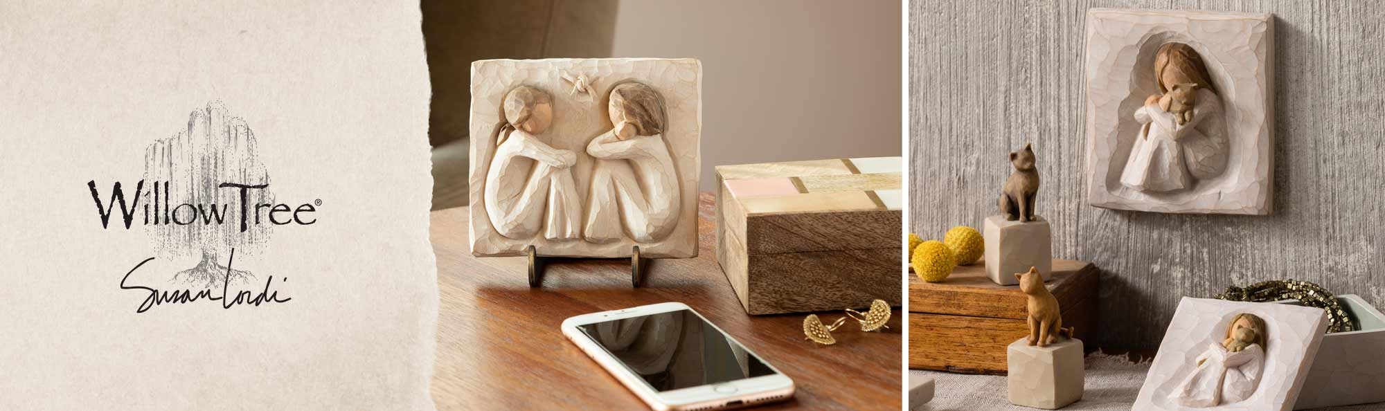Willow Tree by Susan Lordi. Hand carved square plaques of a girl hugging a cat and two girls sitting together.