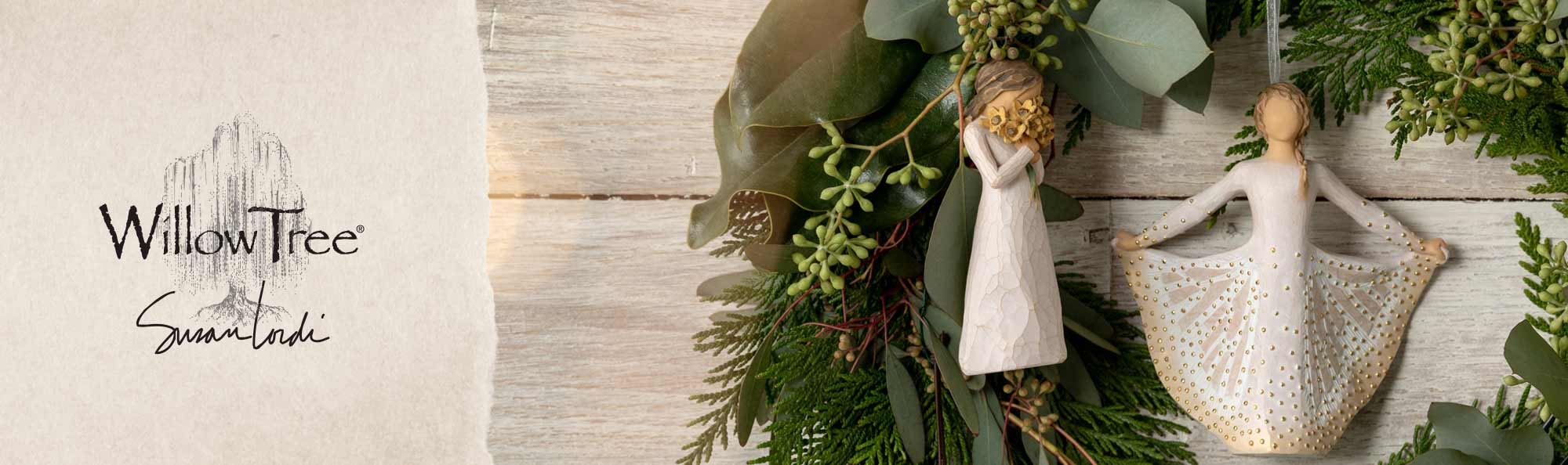 Willow Tree by Susan Lordi. Hand carved ornament figurines of a girl holding a bouquet of flowers and a girl butterfly.