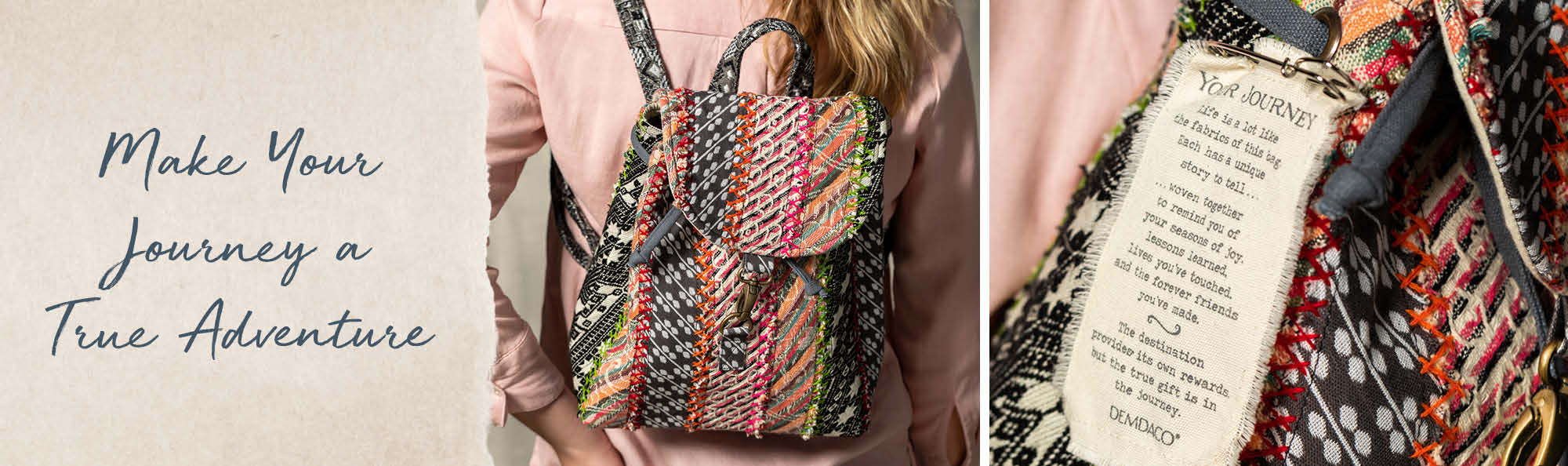 Make Your Journey a True Adventure. Woman wearing a patchwork backpack.