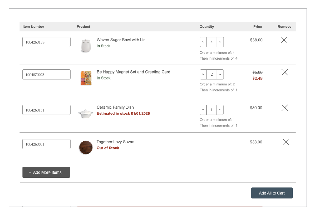 Order form screen
