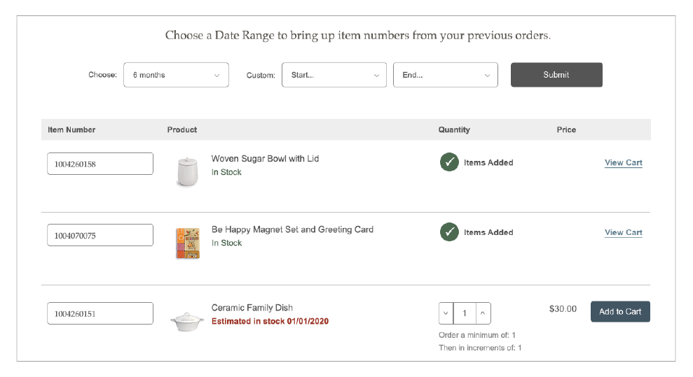 Quick Order history added to cart screen