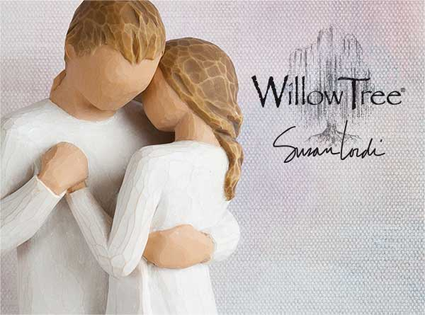 Willow Tree by Susan Lordi. Hand carved figurine of a man and woman holding each other.
