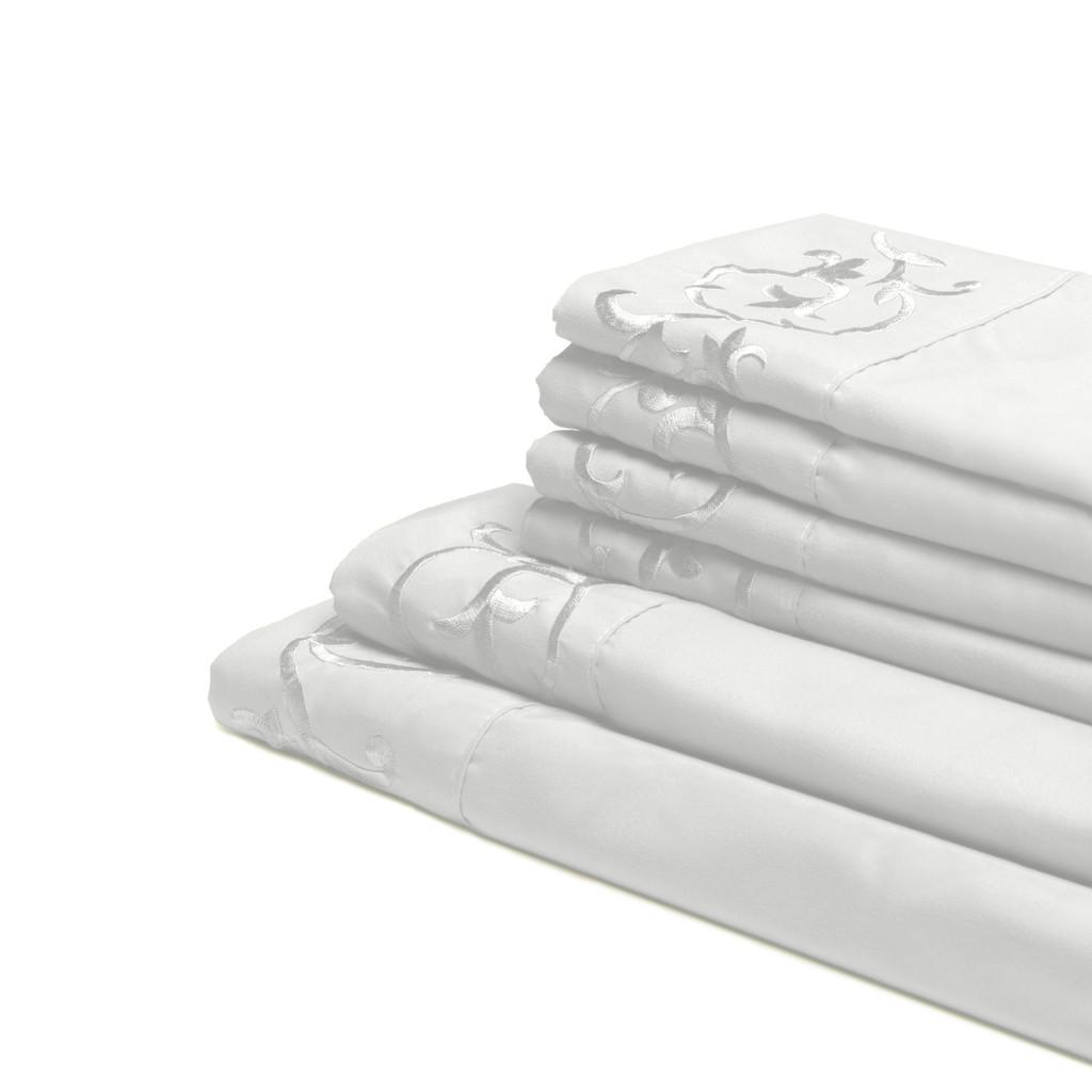 Antonella 6-Piece White Microfiber Sheet Set