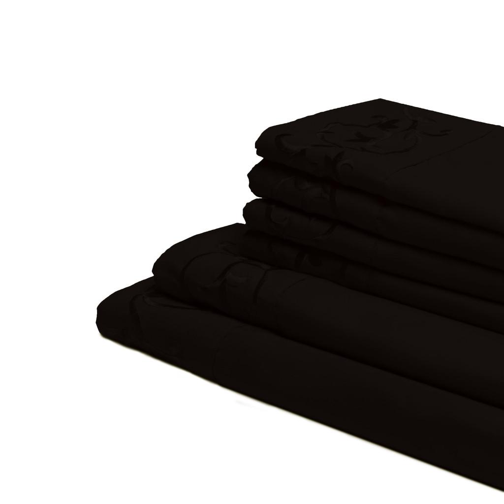 Antonella 6-Piece Black Microfiber Sheet Set