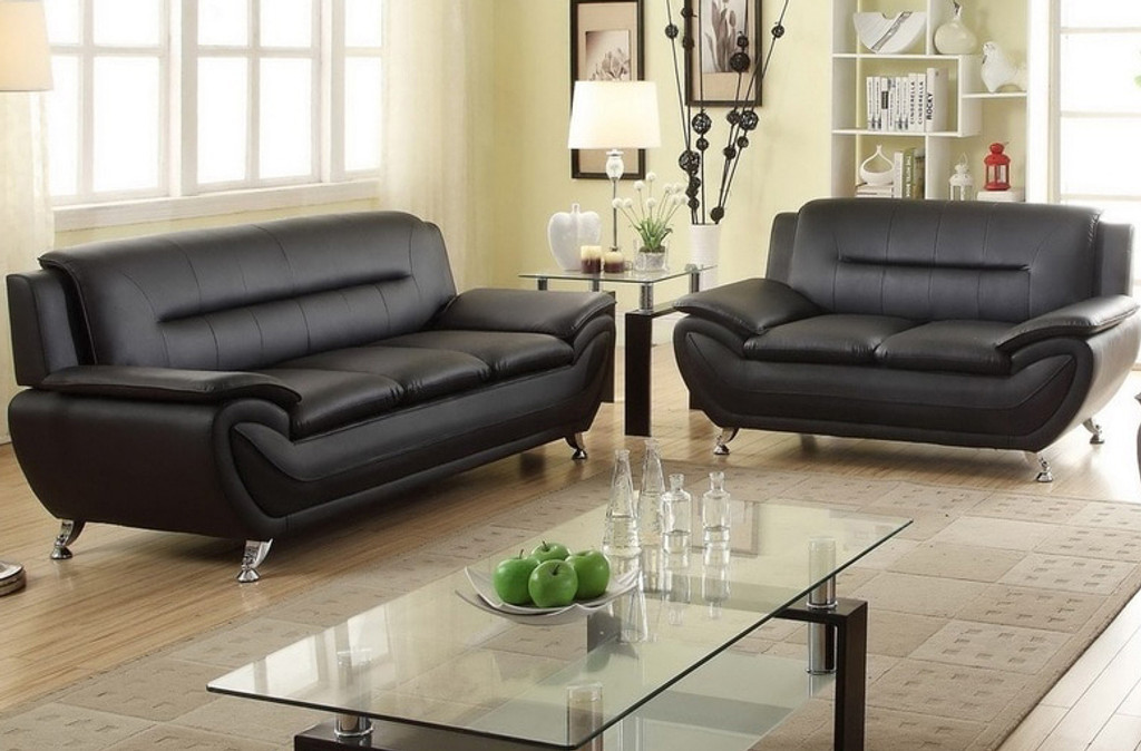 2PC PATRICK CONTEMPORARY SOFA AND LOVESEAT IN BLACK