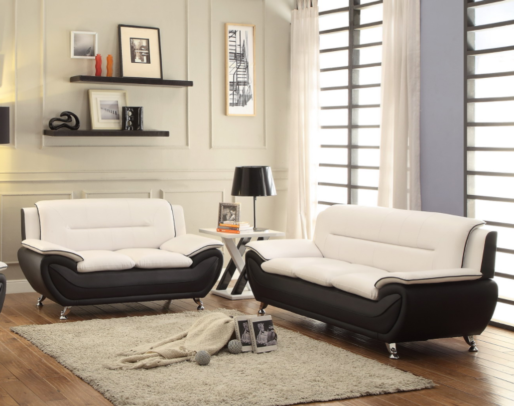 2PC PATRICK CONTEMPORARY SOFA AND LOVESEAT IN WHITE-878-SET